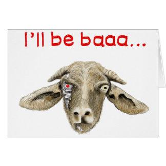 I'll be baaa... funny goat science fiction parody greeting card