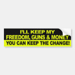 I'll Keep My Freedom, Guns & Money - Obama Bumper Sticker