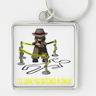Ill Leave You Outlined In Chalk Silver-Colored Square Key Ring
