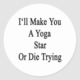 I'll Make You A Yoga Star Or Die Trying Round Sticker