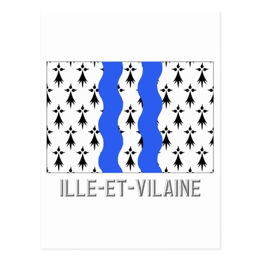 Ille-et-Vilaine flag with name Post Card