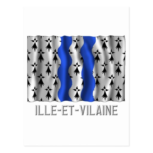 Ille-et-Vilaine waving flag with name Post Cards
