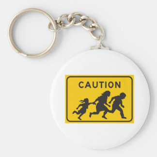 Illegal Aliens Crossing Highway Sign Basic Round Button Key Ring