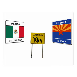 Illegal Border Crossing Sign Postcard