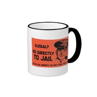 Illegal? Go To Jail Card. Ringer Coffee Mug