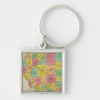 Illinois 11 Silver-Colored square key ring