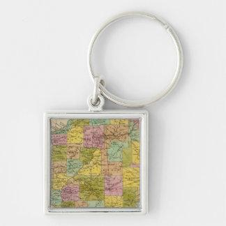 Illinois 5 Silver-Colored square key ring
