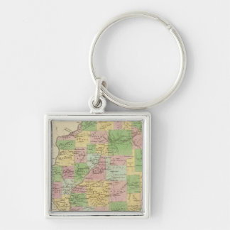 Illinois 6 Silver-Colored square key ring