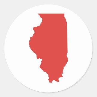 ILLINOIS - a RED State Round Sticker
