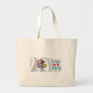 Illinois and Chicago Flags Canvas Bags