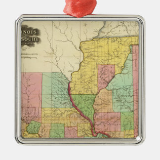 Illinois and Missouri 4 Christmas Ornament