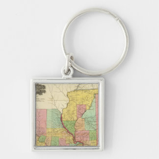 Illinois and Missouri 4 Silver-Colored Square Key Ring
