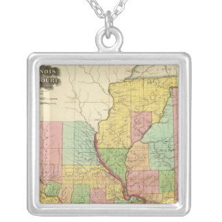 Illinois and Missouri 4 Silver Plated Necklace
