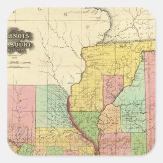Illinois and Missouri 4 Square Sticker