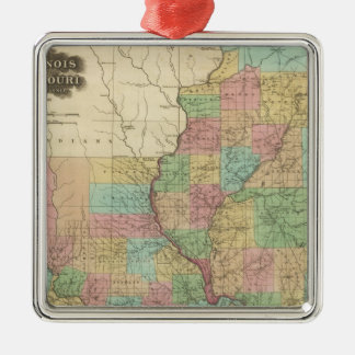 Illinois and Missouri Christmas Ornament