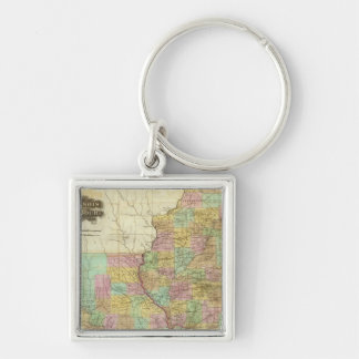 Illinois And Missouri Silver-Colored Square Key Ring