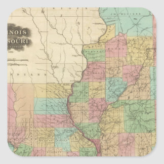Illinois and Missouri Square Sticker