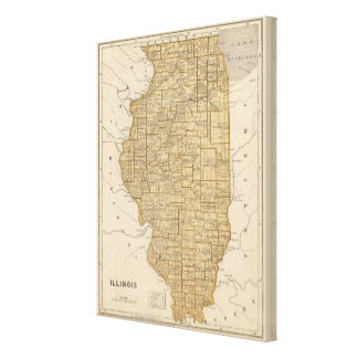 Illinois Atlas Map Canvas Print