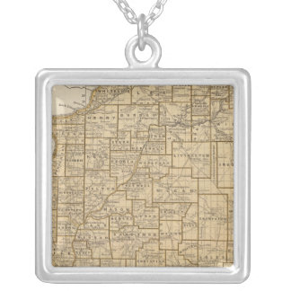 Illinois Atlas Map Silver Plated Necklace