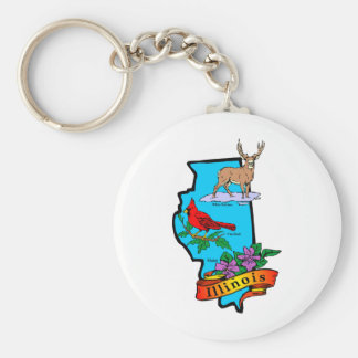 Illinois Basic Round Button Key Ring