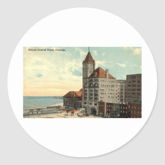 Illinois Central Depot Chicago Repro Vintage 1913 Round Sticker