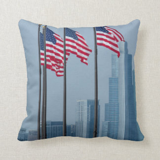 Illinois, Chicago. Navy Pier, US flags flying Cushion