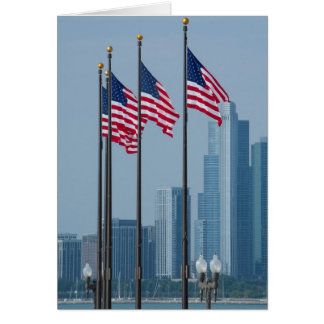 Illinois, Chicago. Navy Pier, US flags flying Greeting Card