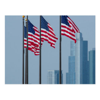 Illinois, Chicago. Navy Pier, US flags flying Postcard