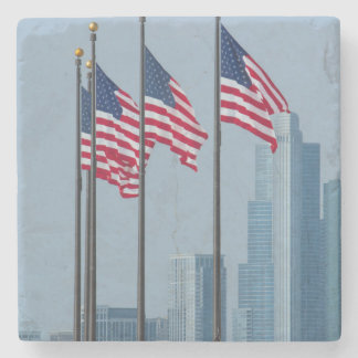 Illinois, Chicago. Navy Pier, US flags flying Stone Coaster