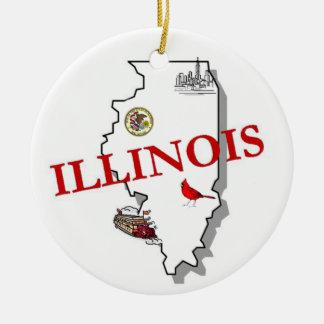 Illinois Christmas Tree Ornament