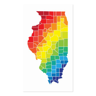 illinois color counties pack of standard business cards