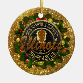 Illinois Country Music Fan Christmas Ornament