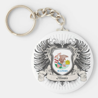 Illinois Crest Basic Round Button Key Ring