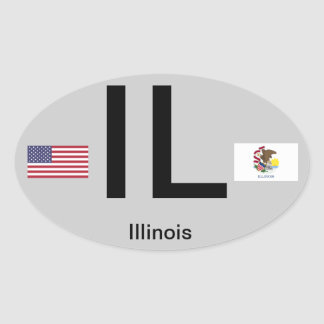 Illinois* Euro-Style Oval Sticker