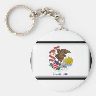 Illinois Flag Basic Round Button Key Ring