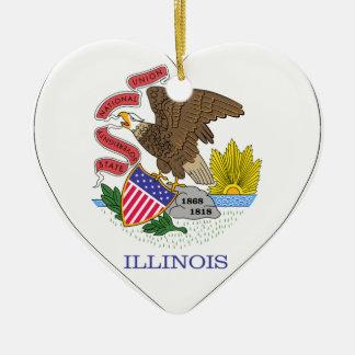 Illinois Flag Heart Christmas Ornament