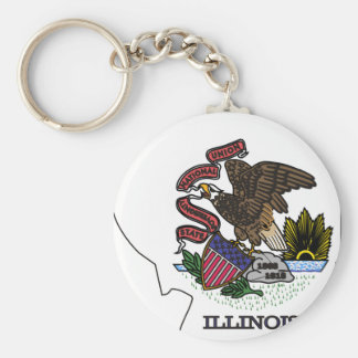 Illinois Flag Map Basic Round Button Key Ring