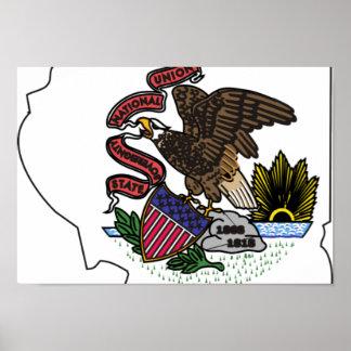 Illinois Flag Map Poster