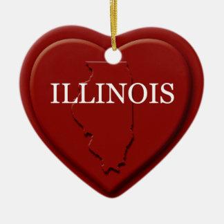 Illinois Heart Map Christmas Ornament