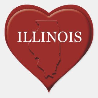Illinois Heart Map Design Sticker