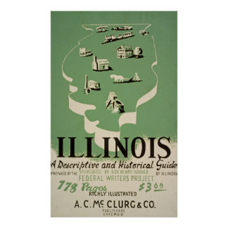 Illinois Historical Guide Vintage Poster