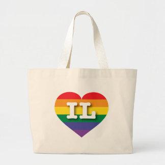 Illinois IL rainbow pride heart Bags
