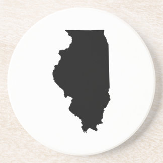 Illinois in Black and White Beverage Coaster