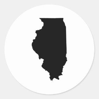 Illinois in Black and White Round Sticker