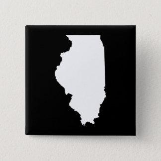 Illinois in White and Black 15 Cm Square Badge