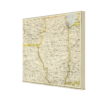 Illinois, Indiana, Iowa, Missouri Canvas Print