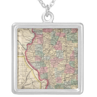 Illinois Map by Mitchell Silver Plated Necklace