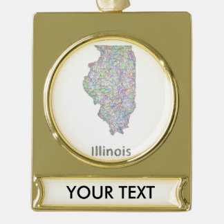Illinois map gold plated banner ornament