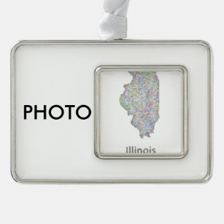 Illinois map silver plated framed ornament
