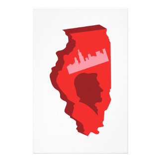 Illinois Map Personalized Stationery